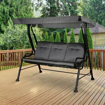 Outsunny® Hollywoodschaukel 3-Sitzer Gartenschaukel Verstellbares Sonnendach Textilene