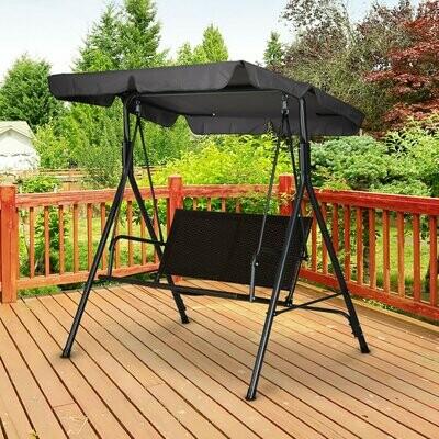 Outsunny® Hollywoodschaukel Gartenschaukel Verstellbares Sonnendach Rattan Stahl Schwarz