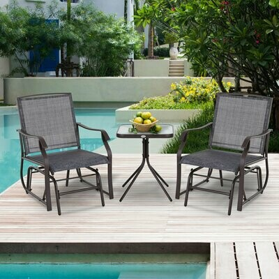 Outsunny Dreiteiliges Gartenmöbel Set, 2 Stühle, 1 Tisch, Braun, Grau