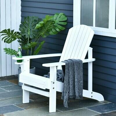 Outsunny® Gartenstuhl Gartenliege Gartenmöbel Gartensessel Balkonstuhl Massivholz Weiss