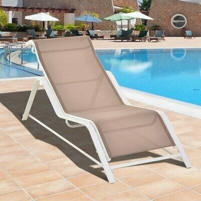 Outsunny® Gartenliege Sonnenliege ergonomisch geschwungen Aluminium Beige