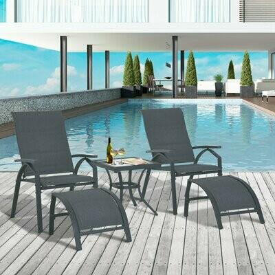 Outsunny® 5-tlg. Gartengarnitur Gartensitzgruppe Gartentischset Gartenliege gepolstert Metall + Textilene Grau 2 x Sessel 2 x Hocker 1 x Tisch