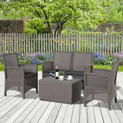 Outsunny® Vierteiliges Gartenmöbel Set Sitzgruppe Sofa Sitzkissen Tisch mit Stauraum Grau