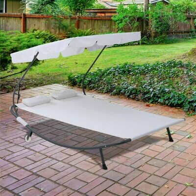 Outsunny® Doppelliege Sonnenliege rollbar mit Dach Stahl Cremeweiss