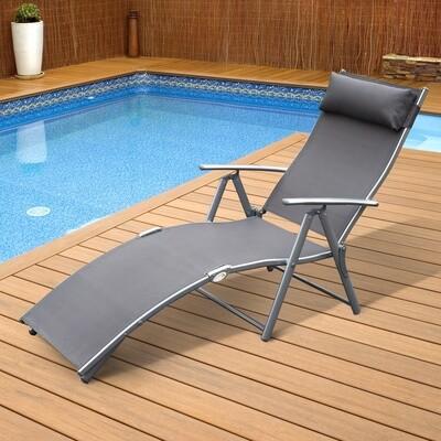 Outsunny® Sonnenliege mit Kissen Gartenliege klappbar grau