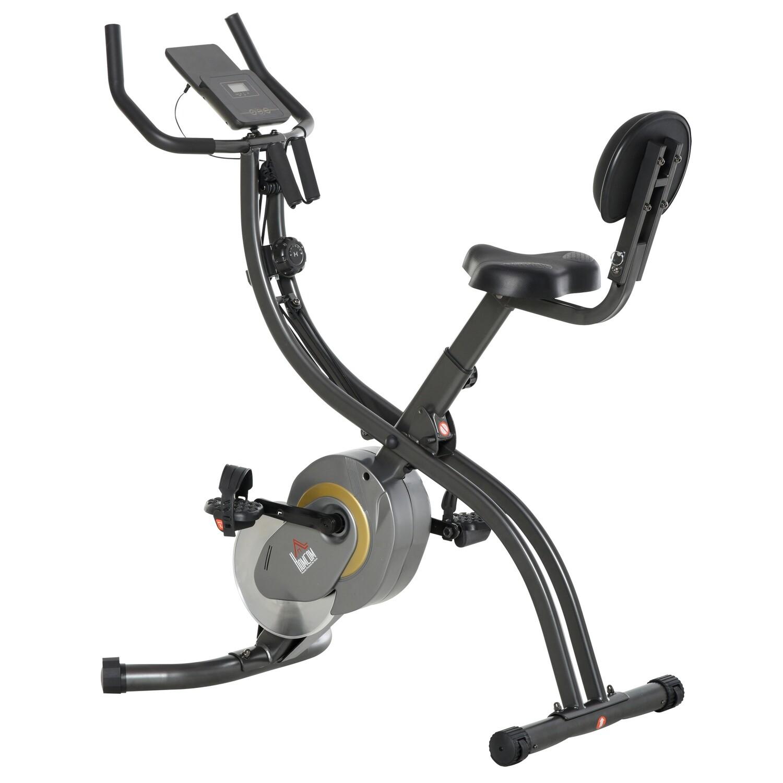 HOMCOM® Heimtrainer 2-in-1 Fahrradtrainer Trimmrad mit 1 Paar Spannseil Stahl