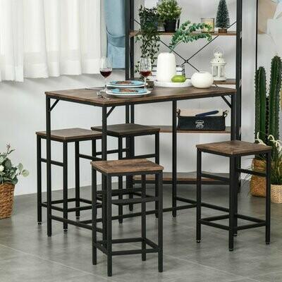 HOMCOM® Bartisch-Set Stehtisch mit 4 Barhockern 5-teiliges Tischset Stahl Braun