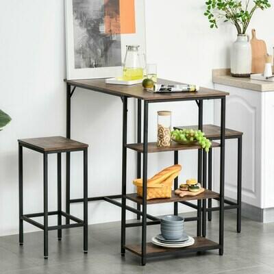 HOMCOM® Bartisch-Set Stehtisch mit 2 Barhockern 3-tlg. Tischset mit Regale Stahl