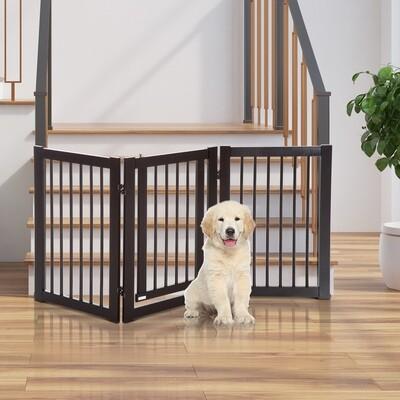 PawHut® Absperrgitter für Hunde Türschutzgitter Schutzgitter MDF Dunkelbraun