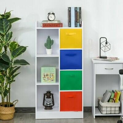 HOMCOM® Bücherregal Bücherschrank weißer Standschrank Aktenschrank mit bunte Stoffboxen
