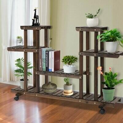 Outsunny® Pflanzenregal Pflanzenstand Vierstufiges Blumentreppe Massivholz