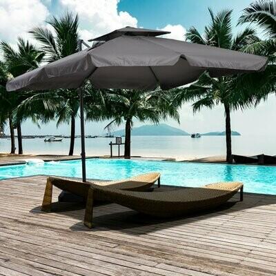 Outsunny® Sonnenschirm UV50+ Ampelschirm Ständer und 4 Gewichten inkl. Schutzhaube Alu
