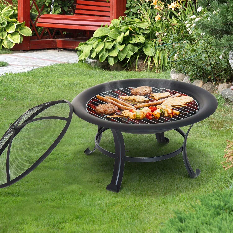 Outsunny® Feuerschale mit Grillrost Funkenschutz 74cm Schwarz