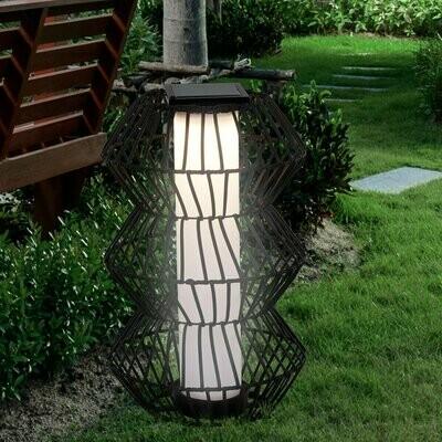 Outsunny LED Solarleuchte, Rattan Garten Stehleuchte, Kaffee