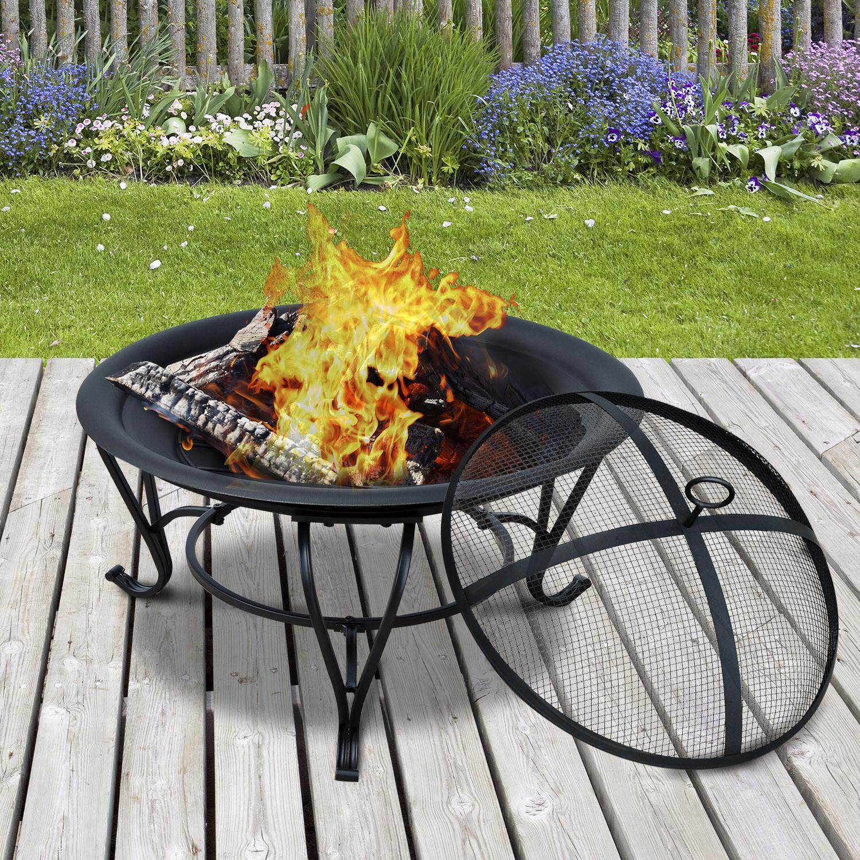 Outsunny® Feuerschale für Holz und Holzkohle mit Funkenschutz