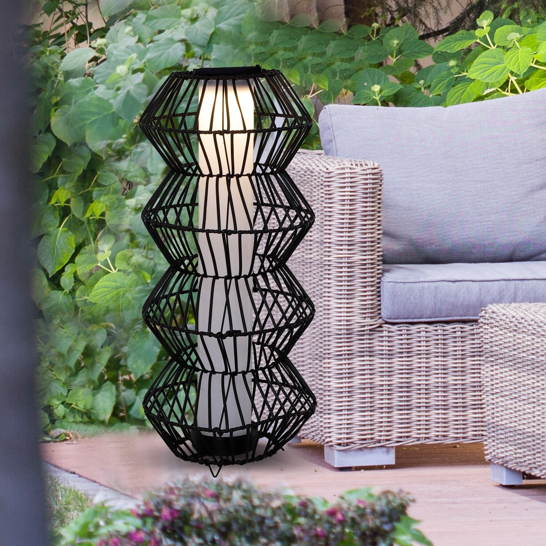 Outsunny LED Solarleuchte, Rattan Garten-Stehleuchte, Kaffee II