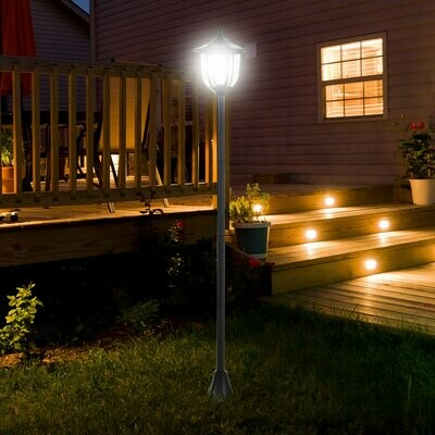 Outsunny® Solar Gartenlaterne LED Laterne Gartenleuchte 6-8 Stdn. Edelstahl H177cm