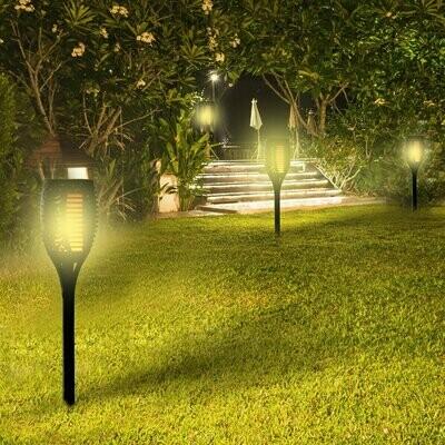 Outsunny® Solarleuchte Gartenlicht 4er-Set Lampe 6-8 h Wasserdicht Kunststoff Schwarz