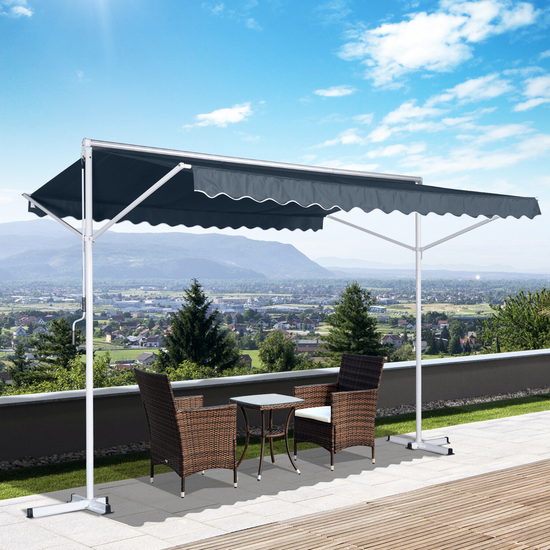 Outsunny® Standmarkise Sonnenstore Gartenmarkise mit Faltarm Grau 2,95x2,94m