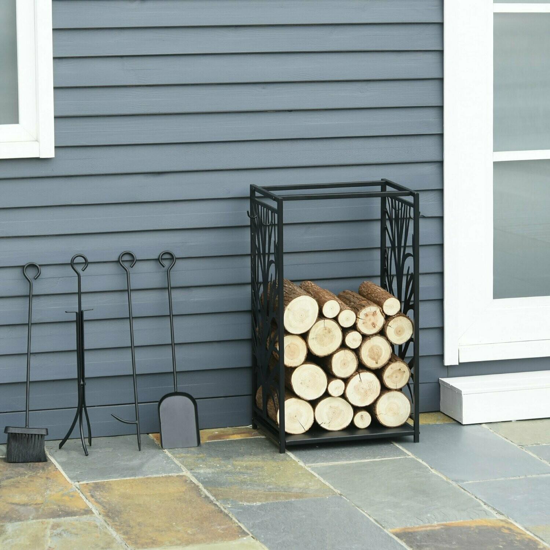 HOMCOM® Kaminholzständer mit Kaminbesteck Erhöhtes Brennholzregal Feuerholzablage Stahl