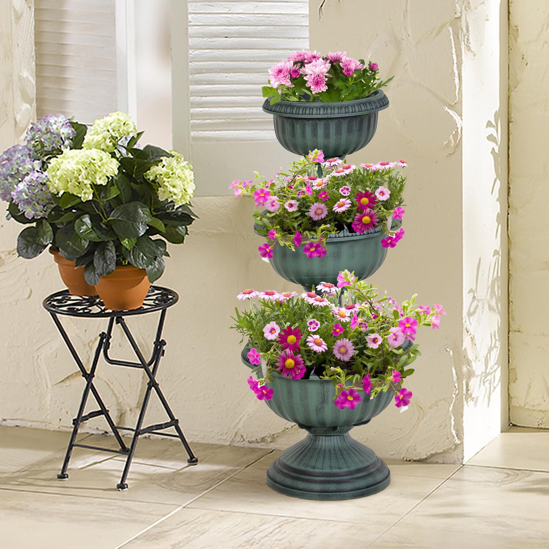 Outsunny® Dreistufige Chelsea-Pflanzgefäss Blumenständer Blumensäule Vintage Grün
