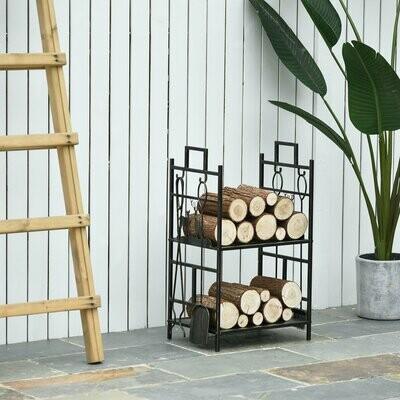 Outsunny® Kaminholzständer mit Kaminbesteck Brennholzregal Feuerholzablage Eisen Gold