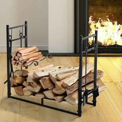 Outsunny® Kaminholzregal Holzständer Holzablage mit 4 Haken 2 Schichten Metall Schwarz 84 x 33 x 76 cm