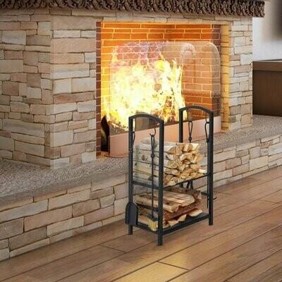 HOMCOM® Kaminholzständer Brennholzregal mit Kaminbesteck Schwarz