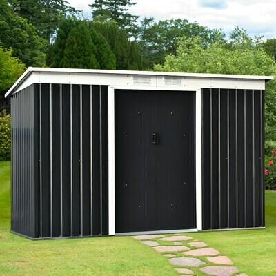 Outsunny® Geräteschuppen mit Schiebetür | Gartenhaus | Stahl | Grau | 277 x 130 x 173 cm