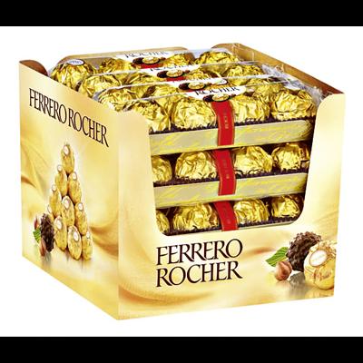 Grosspackung Ferrero Rocher Nuss Pralinen Spezialität, zarte Milchschokolade (30 %), feine Haselnusscreme (40,5%) 16 x 50 g Riegel = 0,8 kg