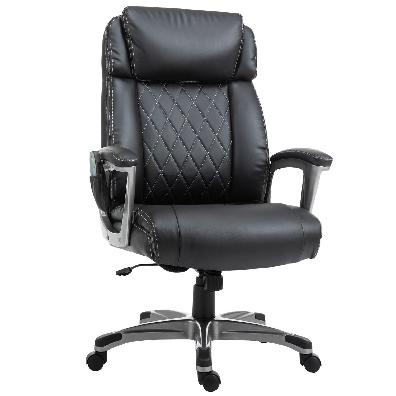 Vinsetto® Massage-Bürostuhl 6-Punkt-Massage-Drehstuhl aus Kunst-Leder schwarz