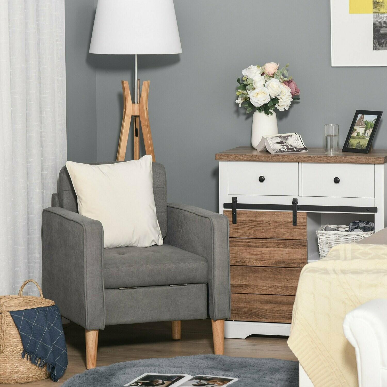 HOMCOM® Einzelsessel Relaxsessel mit Stauraum Polstersessel Sofa