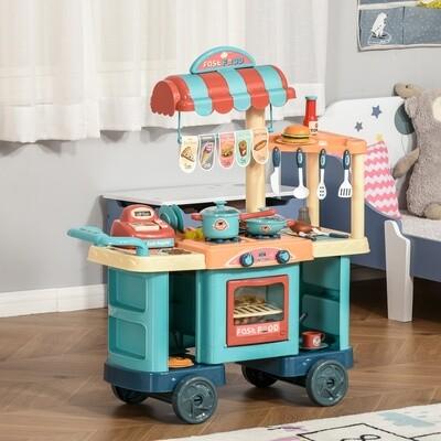 HOMCOM® Kinderküche mit Zubehör 50-Teilige Spielküche Spielzeugküche Kunststoff