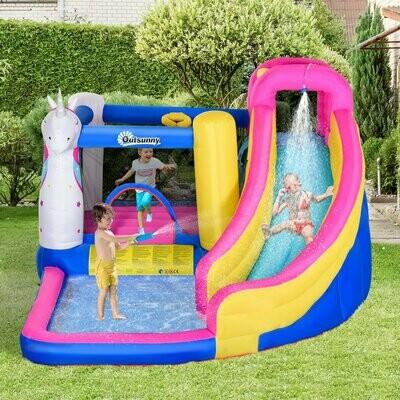 Outsunny® Aufblasbare Hüpfburg mit Wasserrutsche Spielburg Springburg Pool