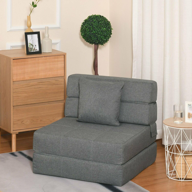 HOMCOM® Schlafsessel Schlafsofa Sofabett Einzelsofa mit Waschbarem Kissen Grau