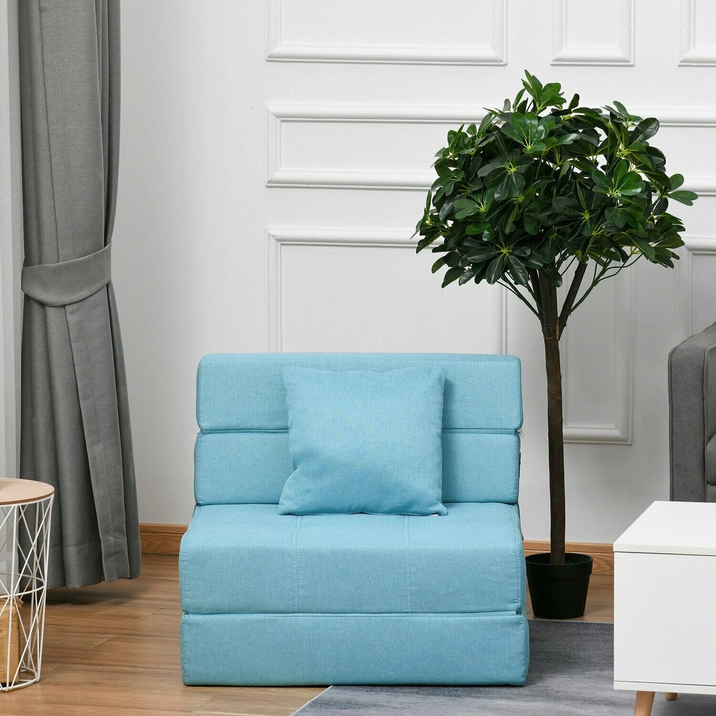 HOMCOM® Schlafsessel Schlafsofa Sofabett Einzelsofa mit waschbarem Kissen Blau
