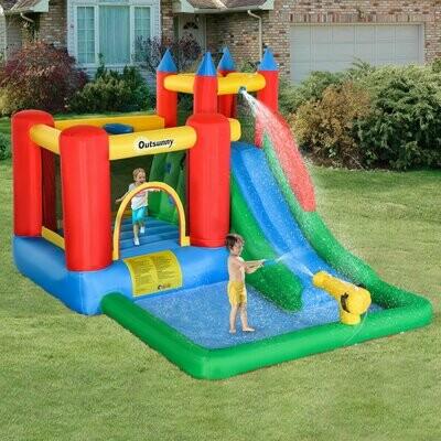 Outsunny® Aufblasbare Hüpfburg mit Wasserkanone Spielburg mit Gebläse für 4 Kinder