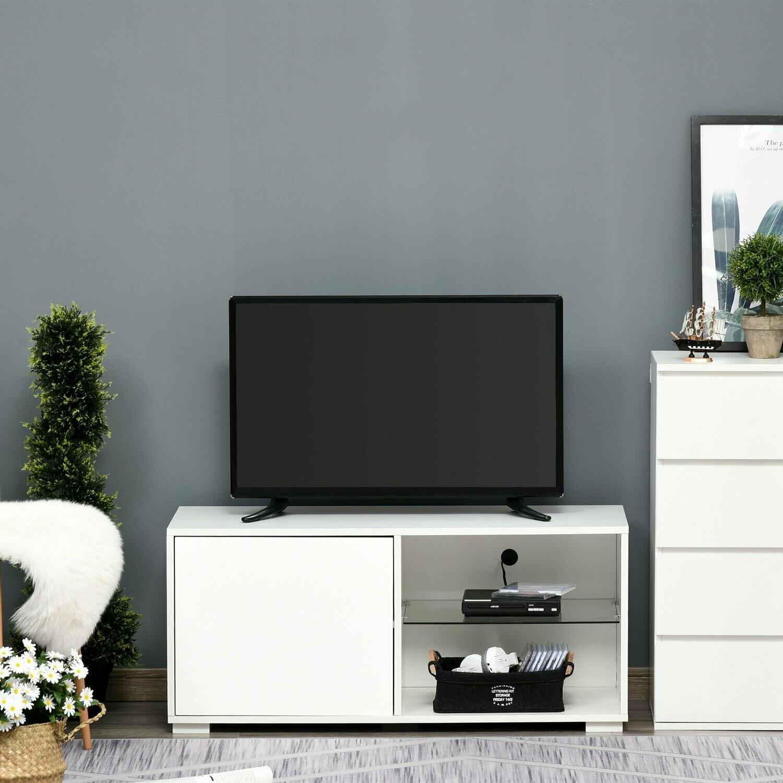 HOMCOM® TV Schrank TV-Kommode mit Schubladen und Offene Regale Glas Weiss