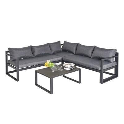 Outsunny® 3-tlg. Gartenmöbel-Set 4-stufig verstellbar Gartenliege Sitzgruppe Alu Grau
