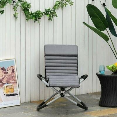 Outsunny® Schaukelstuhl ergonomischer Gartenstuhl Schaukelliege Texteline kugelförmig Grau