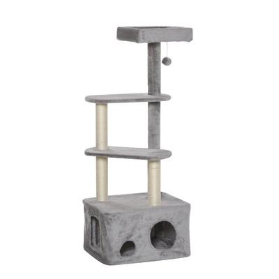 PawHut® Kratzbaum Katzenbaum mit Katzenhöhle Ballspielzeug E1 MDF Sisal Grau