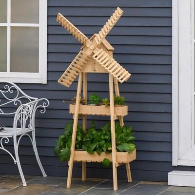 Outsunny® Pflanzentreppe Windmühle Blumenständer Bambusblumenregal Garten Holz Natur