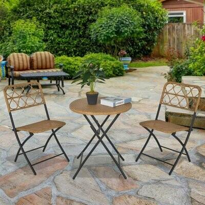 Outsunny® Polyrattan 3 tlg. Sitzgruppe Bistroset Balkonset Klappbar Garten Natur