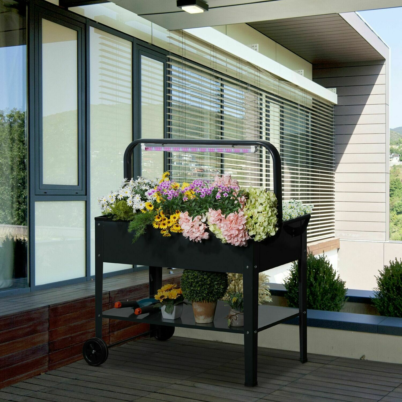 Outsunny® Hochbeet mit LED-Licht Rädern und Regal Kräuterbeet Pflanzenbeet Stahl