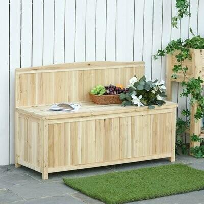 Outsunny® Gartenbank mit Stauraum Truhenbank Sitzbank 2-Sitzer 250 kg Belastbarkeit Tanne