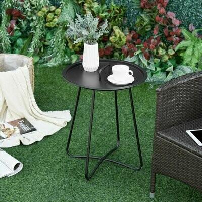 Outsunny® Outsunny® Beistelltisch für Garten Couchtisch Kaffeetisch mit Tragegriff Metall Schwarz