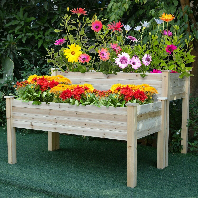 Outsunny® Hochbeet 2 Stufen Frühbeet Kräuterbeet Pflanzkasten mit Abflusslöchern Massivholz