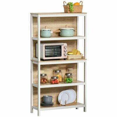 HOMCOM® Standregal Bücherregal 4-stufiges Büroregal Küchenregal Spanplatte Eiche+Weiss