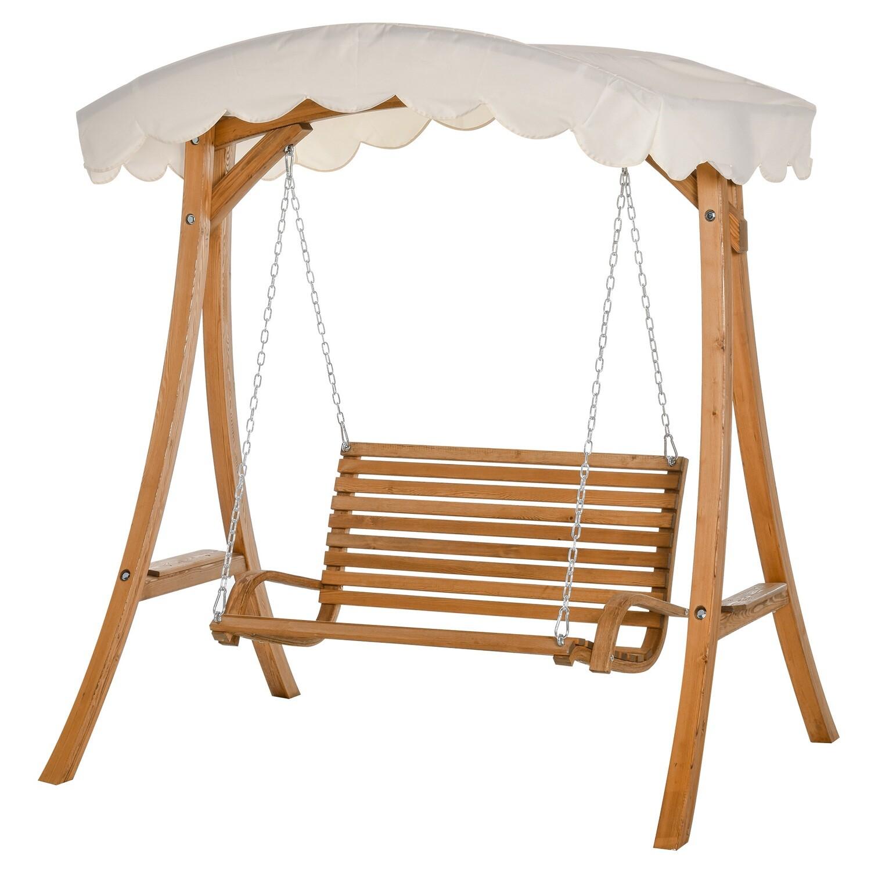 Outsunny® Hollywoodschaukel 2-Sitzer Gartenschaukel mit Sonnendach Lärchenholz Cremeweiss