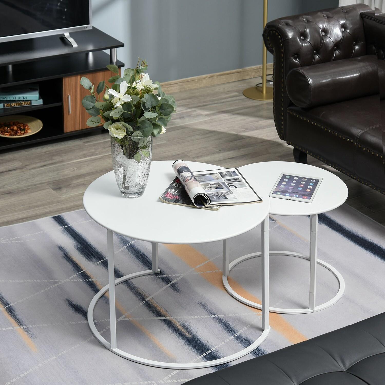 Outsunny® Beistelltisch 2er Set Garten Couchtisch Kaffeetisch Wohnzimmer Metall Weiss